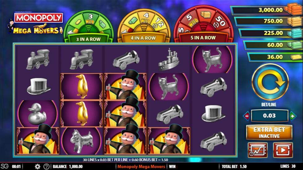 Monopoly Mega Movers – Game Free Spins no Deposit 2020 – 1xSlots